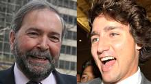 The genealogy website Ancestry.ca says it has discovered that Thomas Mulcair and Justin Trudeau share French-Canadian ancestors.