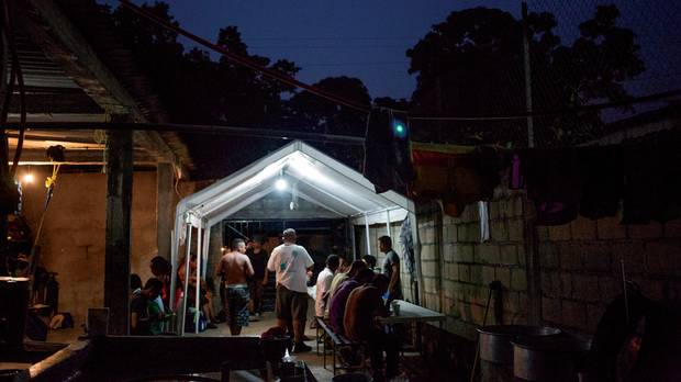 After walking for more than 20 hours, migrants stop to rest at a shelter in Chahuites, Oaxaca, established after the Frontera Sur plan was implemented by the Mexican government.