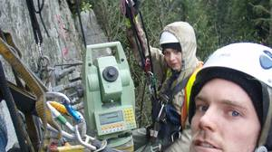 Surveying by employees of McElhanney Group on the walls near the Capilano Suspension Bridge in B.C.