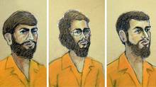 A combination of courtroom sketches. From left: Misbahuddin Ahmed, Hiva Mohammad Alizadeh, both of Ottawa; and Khurram Syed Sher, of London, Ont. (Tammy Hoy/The Canadian Press)