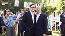 Colin Firth and Paul Haggis at the Artists for Peace and Justice Brunch. (Jenna Marie Wakani for The Globe and Mail)