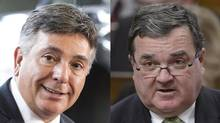 On the day before his first budget, Finance Minister Charles Sousa, left, sent a letter to his federal counterpart, Jim Flaherty, right, asking that the start of input tax credits for large corporations be delayed until 2018. (CHRIS YOUNG AND ADRIAN WYLD/THE CANADIAN PRESS)