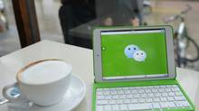 This photo illustration shows the logo of the app WeChat. (PETER PARKS/AFP/Getty Images)