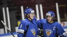 Finland's Saku Maenalainen celebrates after scoring against Norway (TT NEWS AGENCY/REUTERS)