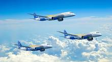 An artist's conception of Embraer SA's new E2 family of jets. Embraer, a fierce competitor against Bombardier in the market for regional jets, is upgrading its fleet and taking aim at Bombardier's $3.4-billion C Series. (EMBRAER)