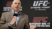 Georges St-Pierre speaks at a press conference in Montreal, Wednesday, November 14, 2012, ahead of his UFC 154 title fight agianst Carlos Condit. (Graham Hughes/THE CANADIAN PRESS)