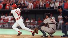 The bat and ball that Cincinnati Reds's Pete Rose used for his record breaking 4,192nd hit in 1985 would likely fetch a seven-figure sum, according to auction experts. (Associated Press)