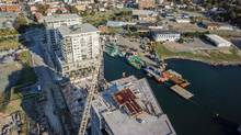 A drone's view of the King's Wharf project on Halifax harbour. Drone-shot videos are becoming an important part of real estate marketing strategy. (Skyline Studio)