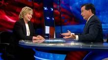 Hillary Clinton and Stephen Colbert on The Colbert Report on August 5 (Comedy Central)