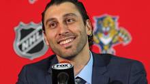 Florida Panthers goalie Roberto Luongo smiles during a news conference Wednesday, March 5, 2014, in Sunrise, Fla. (Al Diaz/AP)
