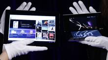 Sony's first tablets, S1, left, and S2, are displayed in Tokyo. (Kim Kyung-Hoon/Reuters)