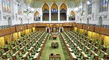 The House of Commons lies empty on Sept. 10, 2009, a few days before Parliament resumes amid threat of an election. (Adrian Wyld/The Canadian Press)