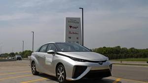 Mark Richardson drives the Toyota Mirai to a service station in Ontario.