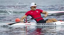 Canada's Adam van Koeverden crosses the finish line on his way to a silver medal win in the men's K1 1000 metre final at at the 2012 Summer Olympics. (Kevin Van Paassen/The Globe and Mail)