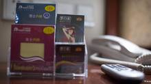 Men's and women's underwear plus two different types of condoms for sale in the rooms of the Huaihua Great Hotel in Huaihua, China January 13, 2013. (John Lehmann/The Globe and Mail)