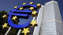 Outside view shows the Euro sculpture in front of the headquarters of the European Central Bank (ECB) in Frankfurt. (ALEX GRIMM/REUTERS)