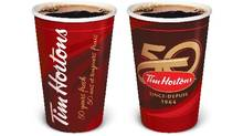 Tim Hortons is celebrating its 50th anniversary celebrations with a special logo and packaging. (Tim Hortons)