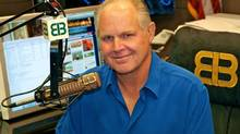 This photo provided by Rush Limbaugh shows Limbaugh in his Palm Beach, Fla. radio studio, the last week of Sept., 2009. (AP)