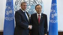 Prime Minister Stephen Harper at the United Nations headquarters on Sept. 25, 2013. (ERIC THAYER/REUTERS)