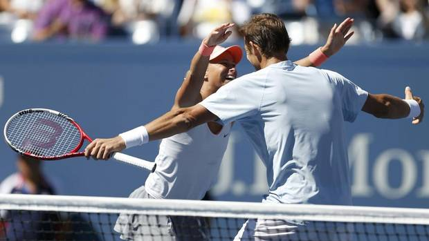 Andrea Hlavackova of the Czech Republic and Max Mirnyi of Belarus celebrate after defeating Abigail Spears of the U.S. and Santiago Gonzalez of Mexico 7-6 (5) 6-3 in the mixed doubles final at the U.S. Open tennis championships in New York September 6, 2013. (ADAM HUNGER/REUTERS)