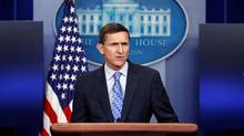 Then-National Security Adviser Michael Flynn speaks during the daily news briefing at the White House, in Washington. (Carolyn Kaster/AP Photo)