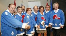 Quebec Conservatives don Nordiques jerseys in September, 2010. (Yan Doublet/The Canadian Press/Yan Doublet/The Canadian Press)