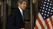 Secretary of State John Kerry spoke by phone Sunday with Russian Foreign Minister Sergei Lavrov, urging him to stop the flow of heavy weapons and rocket and artillery fire from Russia into Ukraine, said a State Department official. (SEAN DEMPSEY/REUTERS)