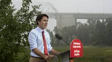 Liberal leader Justin Trudeau delivers remarks in a park Wednesday, September 2, 2015 in Trois-Rivieres, Que. (Paul Chiasson/The Canadian Press)