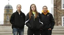 Dalhousie University women's hockey team players Miranda McMillan, left, Laura Brooks, and Isabelle Germain on campus in Halifax, Feb. 21, 2013. Veteran members of the hockey team were suspended over a hazing ritual. (PAUL DARROW/GLOBE AND MAIL)