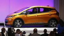 The Chevrolet Bolt EV is introduced as the Car of the Year during the North American International Auto Show in Detroit on Jan. 9, 2017. (BRENDAN MCDERMID/REUTERS)
