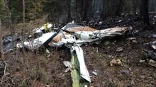 The wreckage of the Cessna Citation that crashed on Oct. 13, 2016, is seen in the woods near Lake Country, B.C. (TSB/THE CANADIAN PRESS)