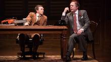 Philip Riccio, left, as Joe Clark and Christopher Hunt as Pierre Trudeau star in the world premiere production of 1979 by Michael Healey at Alberta Theatre Projects in Calgary. (Benjamin Laird)