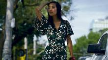 A model shows off the way a jumpsuit can be pulled off during the day. (Fred Lum / The Globe and Mail/Fred Lum / The Globe and Mail)