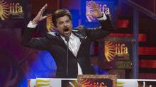 Actor Anil Kapoor appears on stage at the beginning of the 2011 International Indian Film Academy awards ceremony in Toronto on Saturday. (Chris Young/CP)