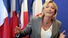 French National Front (FN) far-right party vice-president and European MP Marine Le Pen speaks during a press conference on September 1, 2010 in Nanterre, outside Paris, focused on primary election prior to France's presidential election. (JACQUES DEMARTHON/AFP Photo/Getty Images/JACQUES DEMARTHON/AFP Photo/Getty Images)