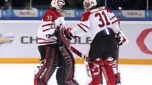 Canada's goalie Malcolm Subban (L) is replaced in the game against the USA by goalie Jordan Binnington during the second period of their semi-final game at the 2013 IIHF U20 World Junior Hockey Championship in Ufa January 3, 2013. (MARK BLINCH/REUTERS)