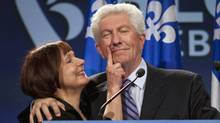 Bloc Quebecois Leader Gilles Duceppe gets his face wiped by his wife Yolande Brunelle as he enters to speak to supporters Monday, May 2, 2011 in Montreal. Duceppe announced his resignation. (Jacques Boissinot/THE CANADIAN PRESS/Jacques Boissinot)