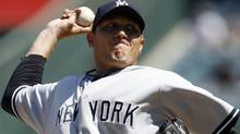 New York Yankees starting pitcher Freddy Garcia gets the call in Sunday's game against the Toronto Blue Jays at the Rogers Centre. REUTERS/Danny Moloshok (Danny Moloshok/Reuters)