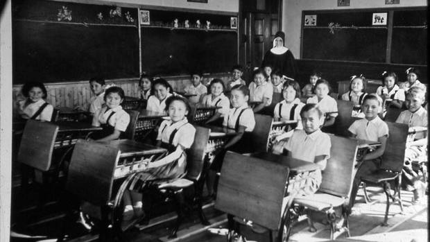 An archival image of students of St. Eugene residential school in Cranbrooke.