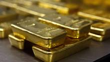 Gold bars are stacked in the safe deposit boxes room of the Pro Aurum gold house in Munich in this file photo. (MICHAEL DALDER/REUTERS)