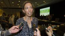 """Beckie Scott, who chairs WADA's athlete committee, urged all sides on Wednesday to put aside their differences and work together to combat """"an undeniable threat to the integrity of sport today."""" (Graham Hughes/AP)"""