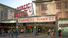 Pike and Pine streets end in the west at Pike Place Market. (Daniel Schwen/Wikimedia Commons/Daniel Schwen/Wikimedia Commons)