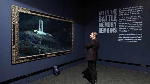 Cook views Ghost of Vimy Ridge, painted by Captain William Fredrick Longstaff.