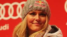Lindsey Vonn of the United States of America attends the medal ceremony after finishing second in the Women's Downhill during the Alpine FIS Ski World Championships on the Kandahar course on February 13, 2011 in Garmisch-Partenkirchen, Germany. (Photo by Lars Baron/Bongarts/Getty Images) (Lars Baron/2011 Getty Images)