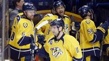 Nashville Predators center Cody Hodgson (11) is congratulated by Shea Weber (6) and Seth Jones (3) after Hodgson scored a goal on a penalty shot against the Calgary Flames during the first period of an NHL hockey game Tuesday, Dec. 15, 2015, in Nashville, Tenn. person with direct knowledge of the decision has told The Associated Press the Predators have placed under-performing forward Hodgson on waivers. (Mark Humphrey/THE ASSOCIATED PRESS)