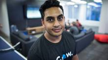 Grow CEO Kevin Sandhu sits for a photograph at the consumer lending company's offices in Vancouver, B.C., on Friday January 8, 2016. (THE CANADIAN PRESS/Darryl Dyck)
