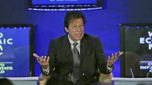 Pakistan Tehreek-e-Insaf Chairman, and former cricket captain Imran Khan gestures as he speaks at the World Economic Forum in Gurgaon, on the outskirts of New Delhi, India , Wednesday, Nov. 7, 2012. (Manish Swarup/AP)