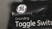 A General Electric Company logo is seen on a toggle switch package in New York January 18, 2012. (SHANNON STAPLETON/SHANNON STAPLETON/Reuters)