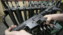 A newly assembled AR-15 rifle at the Stag Arms company in New Britain, Conn. (Charles Krupa/AP)