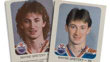 Hockey cards featuring a long-haired Wayne Gretzky, left, were never distributed and ordered to be destroyed, at Gretzky's request, and they were replaced by new cards, right, after the young to-be star got a haircut. (Amber Bracken for The Globe and Mail)